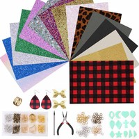 Pu Leather Earrings Accessory Set Buffalo Plaid Leopard Sequins Leather For DIY Making Jewelry Earing Hairpin Material Connector