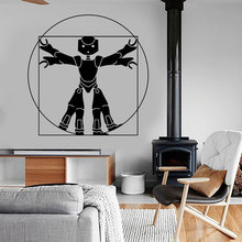 Funny Leonardo Da Vinci Vitruvian Man Robot Wall Sticker Vinyl Art Home Decor Living Room Bedroom Decals Removable Murals A391