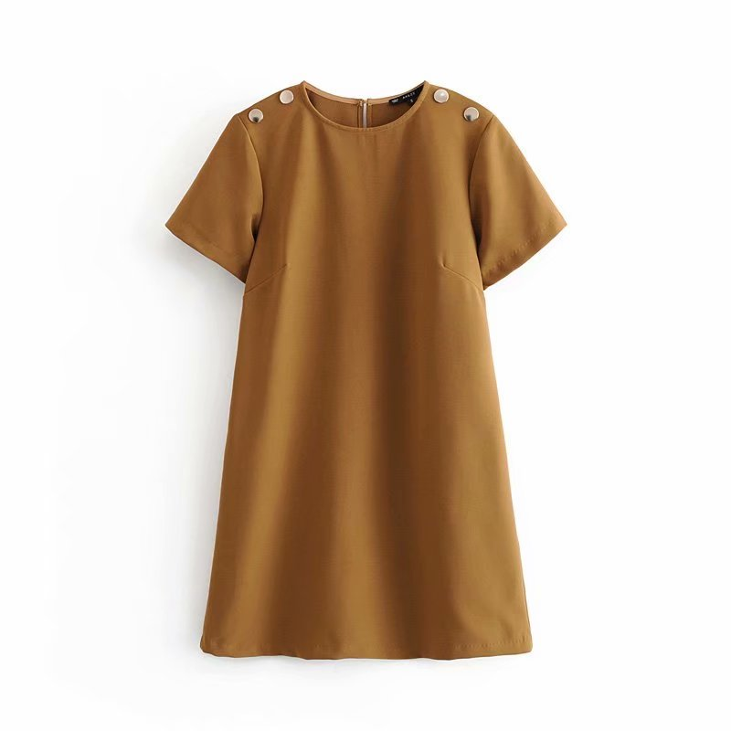 Women Vintage Shoulder Buttons Decoration Casual Straight Mini Dress Office Lady Solid Color O Neck Short Sleeve Vestidos Casual Business Dresses DS2933