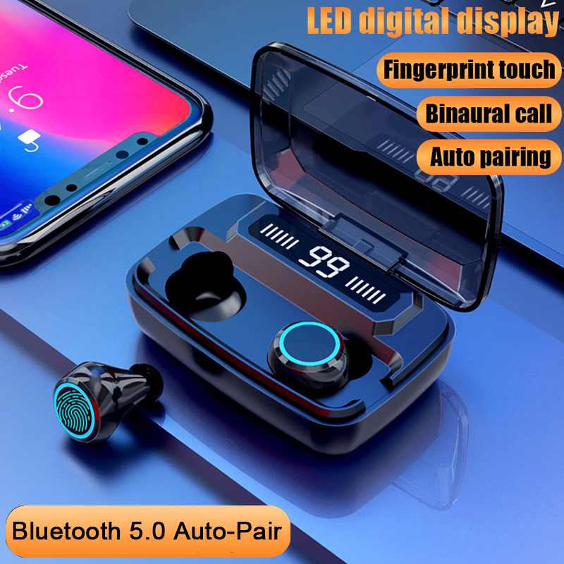 8D Wireless Earphones Bluetooth Earbuds V5.0 Sports Wireless Headphones LED Display Touch Control Stereo Headset with Microphone