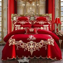 Red Chinese Style Wedding Embroidery Duvet Cover Bed sheet set Cotton Solid Princess Bedding Set Luxury Romantic Girls Bed cover