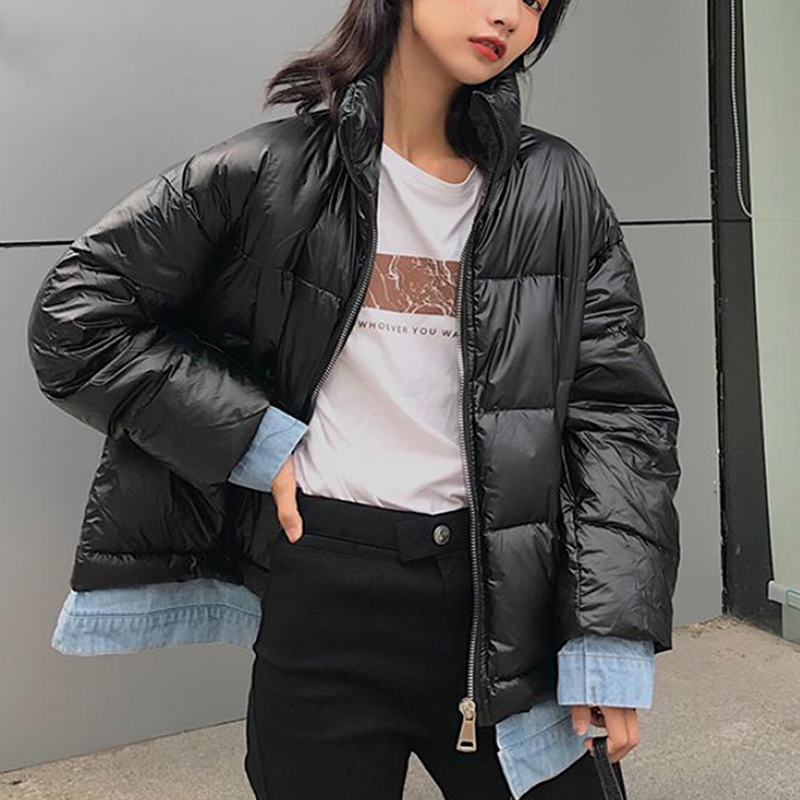 Winter Denim Patchwork Glossy   Down     Coats   Women Plus Size Standing Collar Full Sleeve Jackets Female Korean Warm Thick Parka   Coat