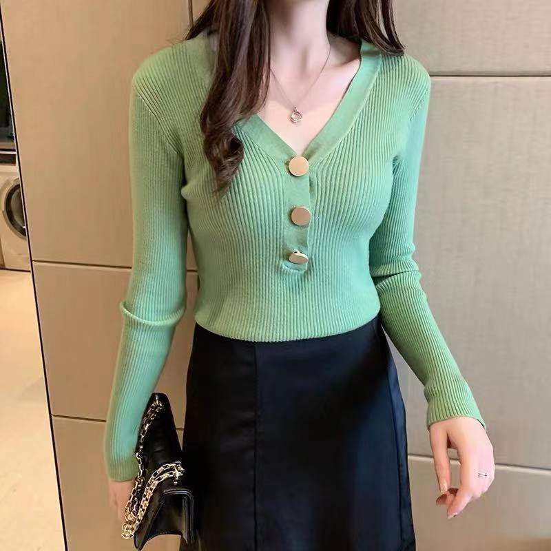 Sweater V-Neck Women Fashion Autumn Knitted Cotton Knit Sweater Long Sleeve Solid Slim Pullovers Coat Female Blouse Knit Sweater