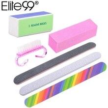 Elite99 6 шт./компл. Пилочки для ногтей кисть прочный Полирующий песок Fing ногтей, для маникюра, аксессуары для Шлифовальная Пилка инструменты для УФ гель-лака