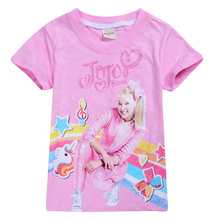 2019 new summer childrens cartoon JOJO siwa  girls tops cotton boys and short-sleeved T-shirt clothing 4-12Y