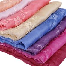 Embroider Viscose Shawl Scarf Stole Bandanas Muslim Hijab High Quality Head Wrap Plain 180cm*90cm