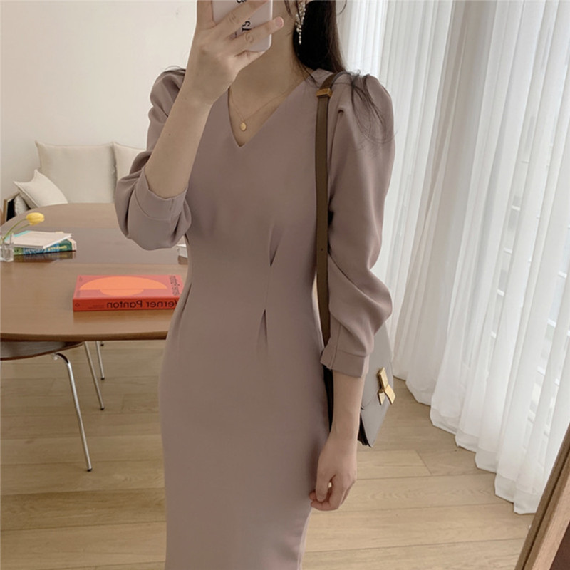 Brief Style Women Elegant Fashion Bodycon Office Lady Work Dress Slim Pencil Dress Formal Party Summer