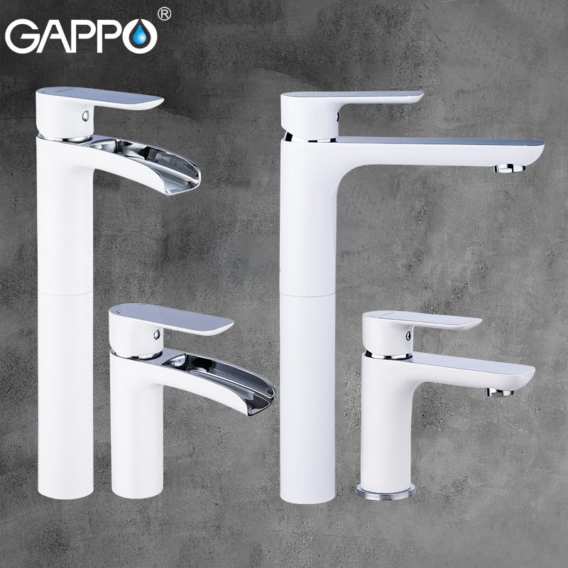 GAPPO White Chrome Brass Basin Faucets Waterfall Faucet Basin Mixers Sink Taps Tall Bathroom Water Taps Rainfall Mixer Griferia