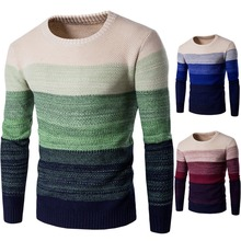 HEFLASHOR O-neck Patchwork Men Sweater Slim Fit Long Sleeve Knitting Pullovers Casual Basic Knitted Sweaters Plus Size Jersey цена