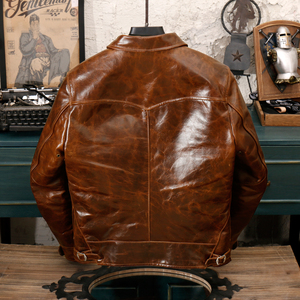 Image 5 - YR!Free shipping.Brand new classic casual style oil cowhide jacket,man slim oil genuine leather coat,vintage winter warm coat.RL