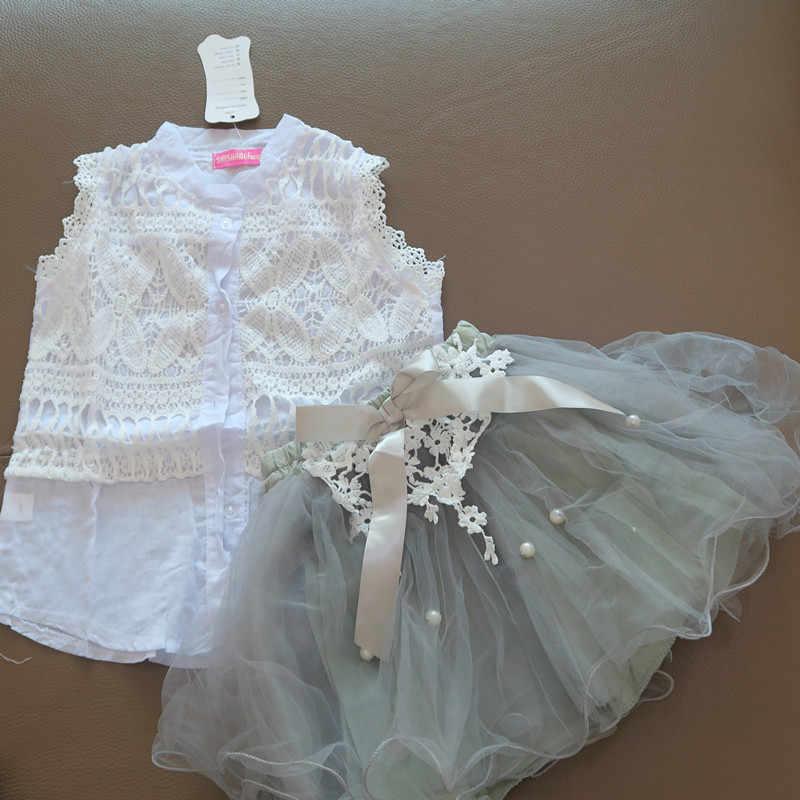Conjuntos de ropa de marca para chicas, camisa de encaje sin mangas para adolescentes, falda de vestido de baile con lazo, traje de 2 uds para niñas, ropa de boda 7 9 11 12 13 año