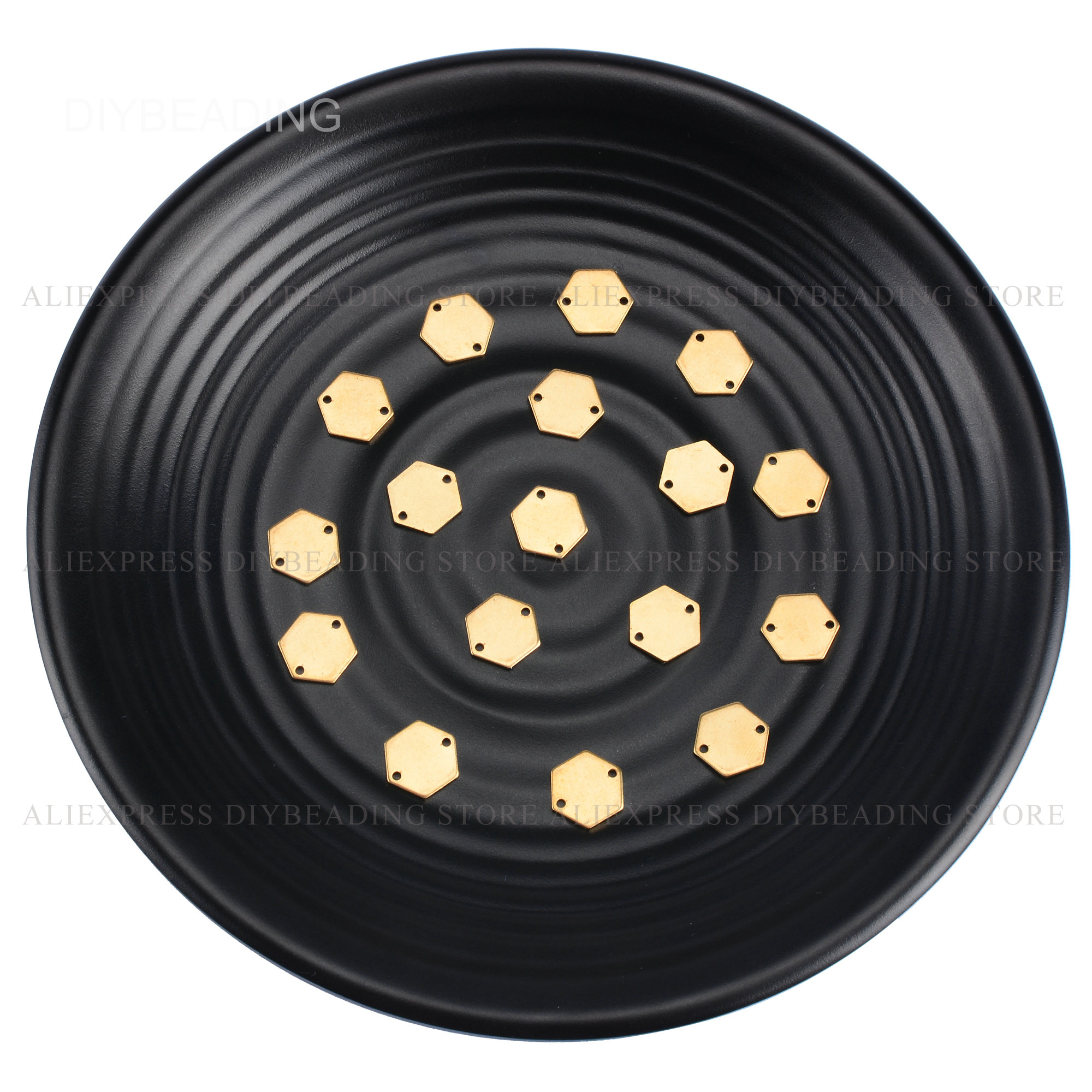 Латунная фурнитура для изготовления ювелирных изделий, 20-500 шт., маленький размер 10 мм, шестигранная Геометрическая подвеска, штамповочный к...
