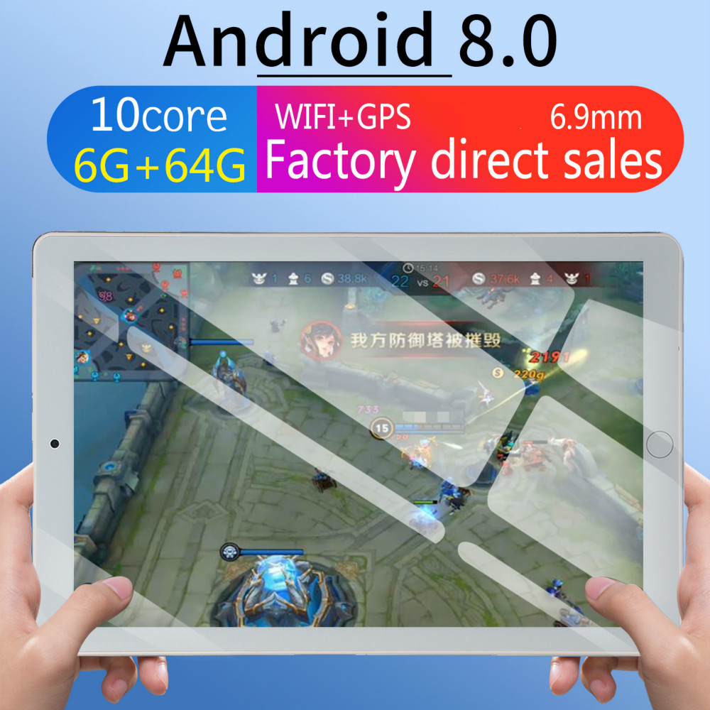 2020 WiFi Tablet PC 10 Inch Ten Core 6G+64G Android 8.0 Dual SIM Dual Camera Tablet GPS Phone Pad