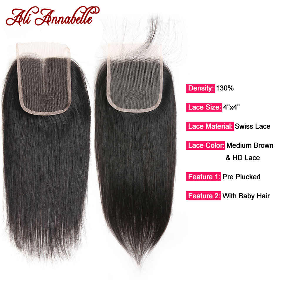 HD Lace Closure with 3 Bundles Peruvian Straight Human Hair With HD Lace Closure Double Weft Human Hair Bundles With Closure