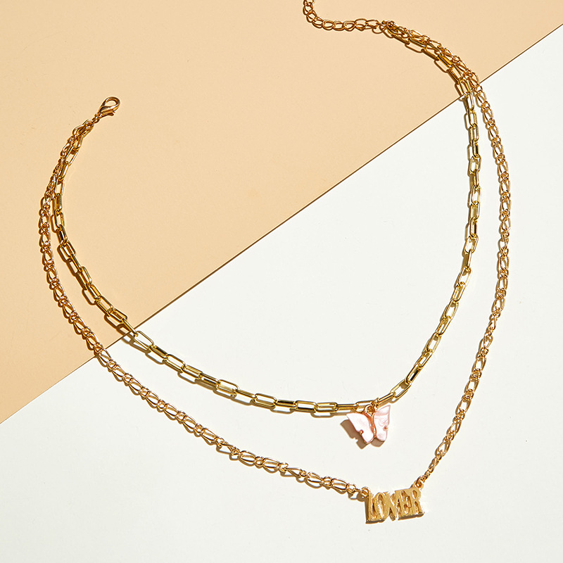 Colorful Acrylic Butterfly Pendant Necklace Gold Color Letter Clavicle Chain Short Necklace Female 2020 Fashion Jewelry Simple