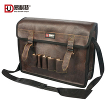 Leather Shoulder Tool Bag Large Capacity Multifunction Zipper Electrician Tool Storage Bags Sturdy Crossbody Bags Tool Organizer