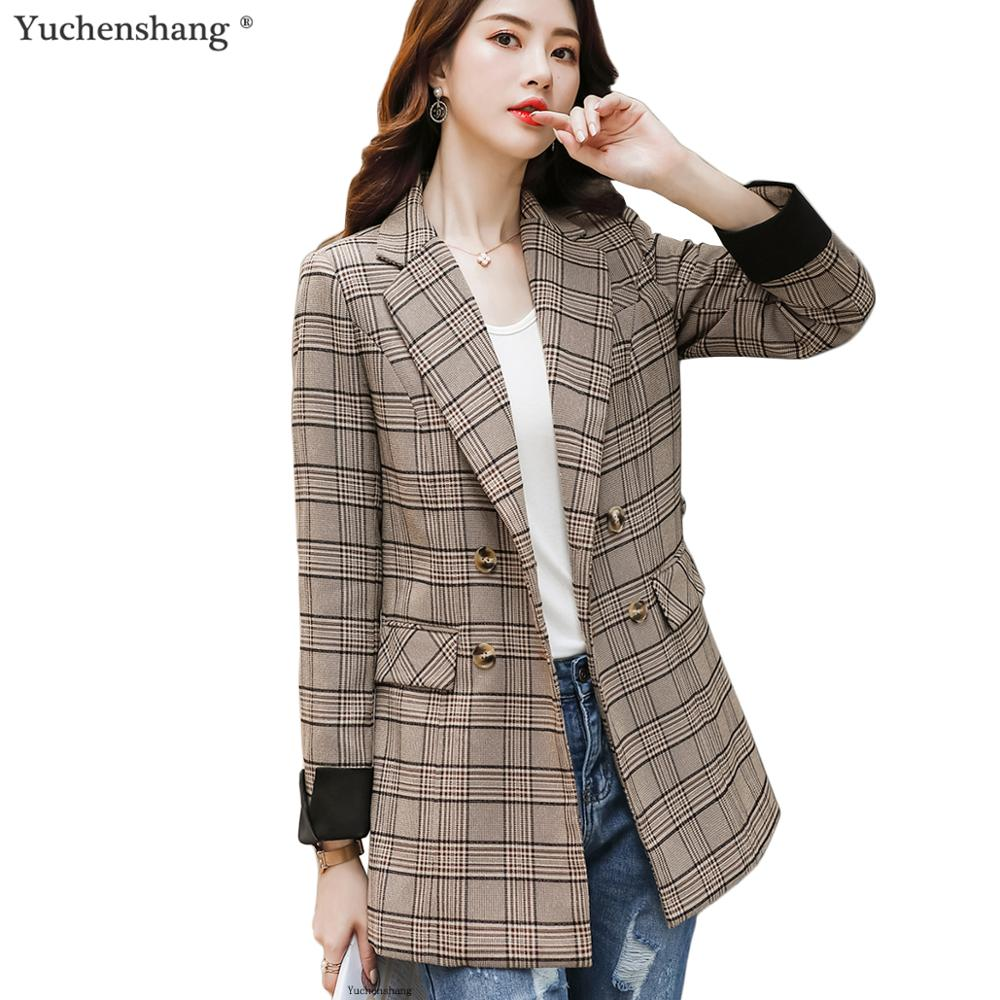Women England Style Blazer Plaid Long Coat With Pockets Casual Double Breasted Jacket Fashion Outwear Loose Blazer