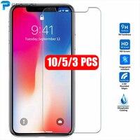 10Pcs 5 Pcs Vetro Temperato Per il iPhone 12 Mini 11 Pro Max X XS MAX XR 6 6s 7 8 più di 5s SE 2 2020 Schermo Protettivo Della Pellicola Della Protezione
