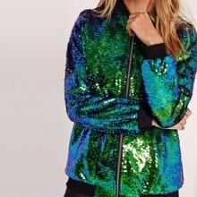 Женская куртка-бомбер с блестками, зеленая уличная туника с длинными рукавами на молнии, свободная Повседневная Базовая верхняя одежда для ...