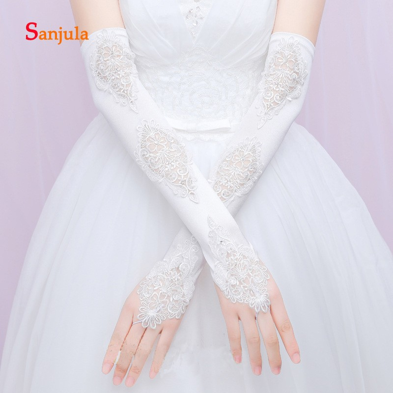 Fingerless Long Wedding Gloves Lace Satin Elbow Length Bridal Wedding Accessories Guantes De Novia G75