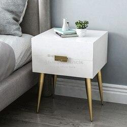 Najlepsza jakość Nordic Europe szafki nocne drewniane stoliki meble Bebroom szafka do przechowywania stolik nocny z metalową stopą/szufladami