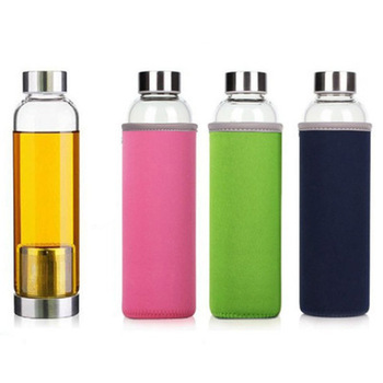 420/550ML High Temperature Resistant Glass Sport Water Bottle with Tea Infuser + Protective Bag
