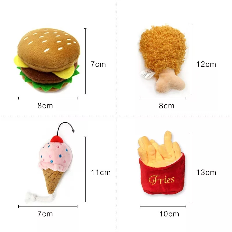 4/7PC SET Hamburger Plush Soft Stuffed Dog ToysSqueaky French fries Shape Chew Bite Resistant Toy for Dogs Pet Toys Accessories 6