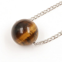 FYJS Unique Silver Plated 18 mm Round Bead Pendant Link Chain Necklace with Natural Tiger Eye Stone Jewelry недорого