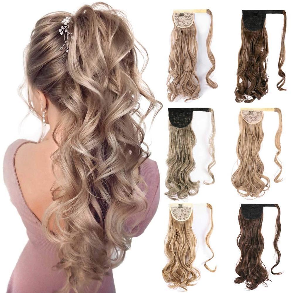 Конский хвост с зажимом для волос Kong & Li, искусственные волосы, накладной хвост 22 дюйма, Шпилька для волос, синтетические удлинители волос дл...