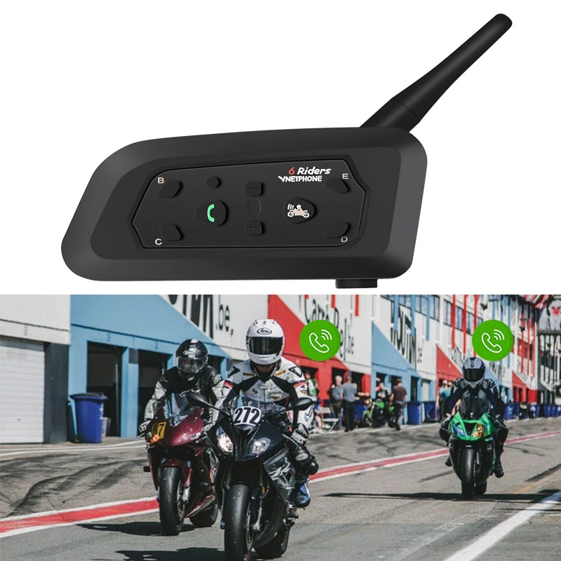 Vnetphone V6 1200M Motorcycle BT Helmet Intercom Moto Interphone Headsets Intercomunicador Bluetooth Talker Para Motocicleta