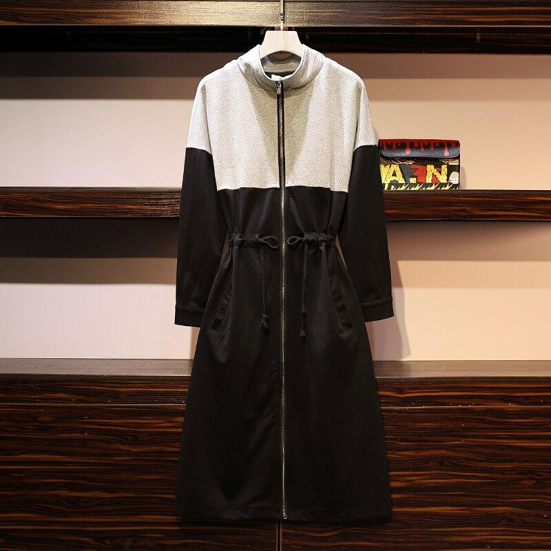 XL-5XL grande taille femmes col roulé robe à glissière automne 2019 mode coton Patchwork à manches longues cordon taille a-ligne robes