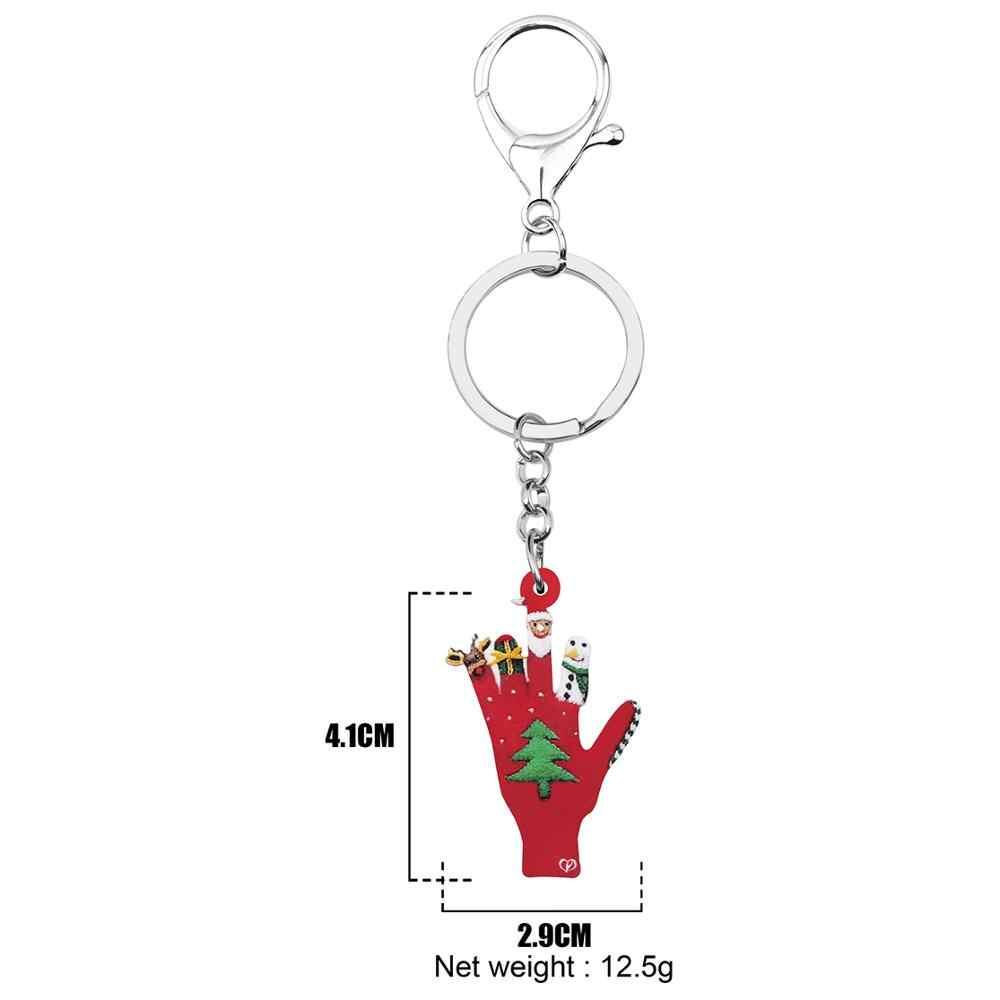 Bonsny Acrílico Árvore de Natal Papai Noel Alce Boneco de Neve luvas Bolsa chaveiro Saco do Anel Chave Do Carro Chaveiro Para As Mulheres Menina Presente Charme