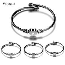 Bracelet Jewelry Stainless-Steel 26-Letters Women Black Charm Heart for Alphabet-Cuff