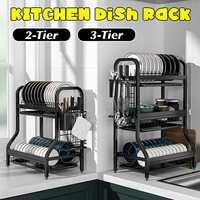 Estante de cocina de acero inoxidable de 2/3 niveles, escurridor, organizador para fregadero, accesorios, cuchillo, recipiente para tenedores