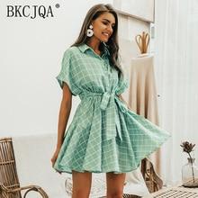 Women Dress Elegant Plaid Sashes Lady Dress Short Sleeve A-line Casual Bodycon Dress  Streetwear Female Short Dress Button Dress