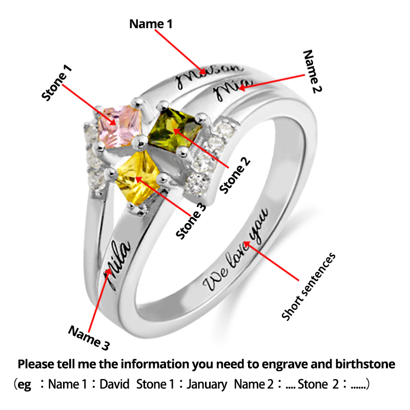 XiaoJing 925 sterling silver name rings personalized custom family name birthstone ring give family unique gifts free shipping in Rings from Jewelry Accessories