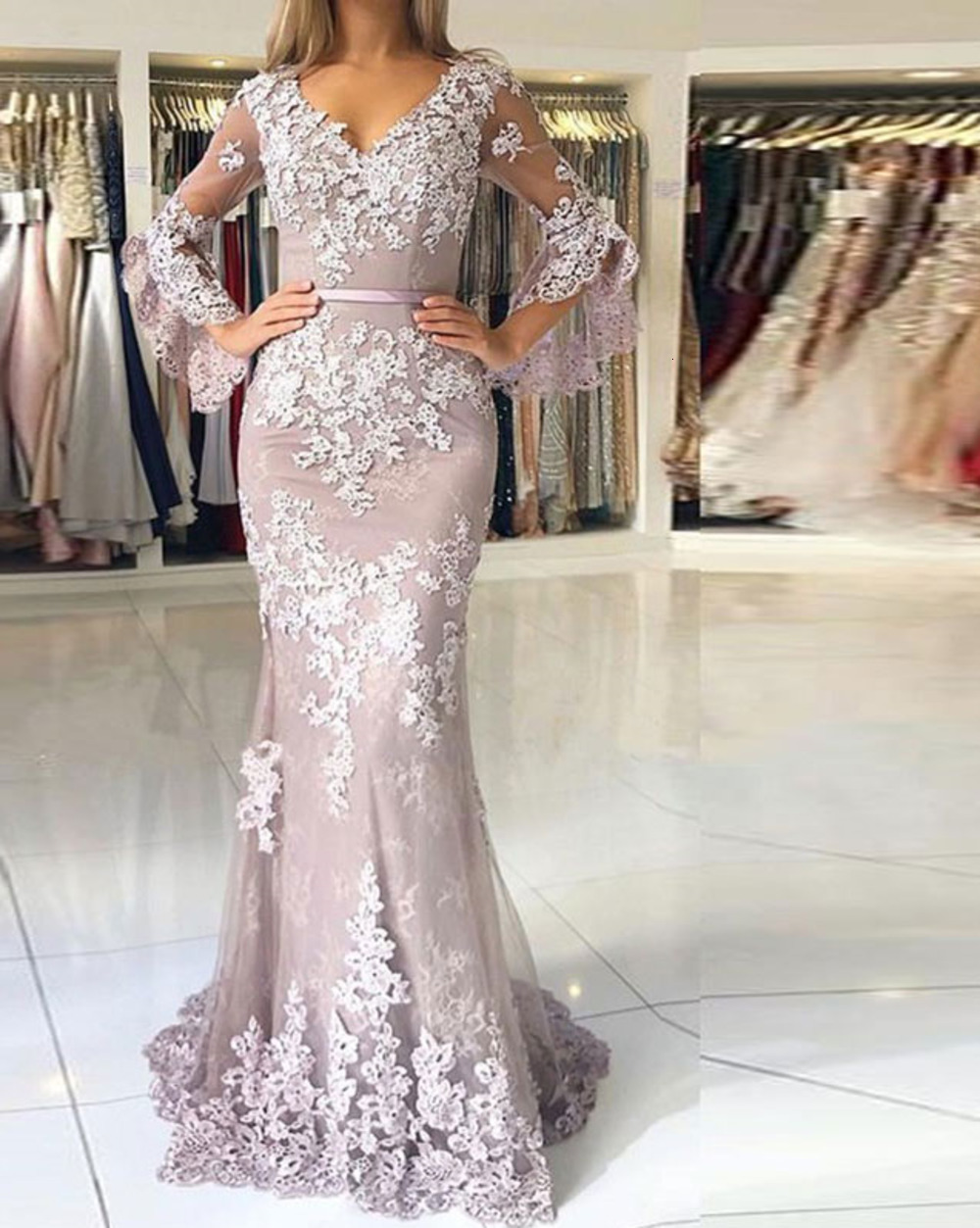 Glamorous V Neck Spaghetti Straps Mermaid Evening Dresses Elegant Lace Appliques Prom Party Dresses Formal Dresses