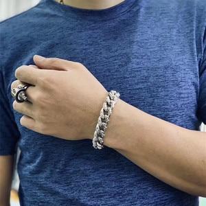 Image 4 - 925 Sterling Silver Jewelry Bracelet for Women Men Vintage Width 14mm Solid Thai Silver Mantra Charms Leathe Bracelets & Bangles