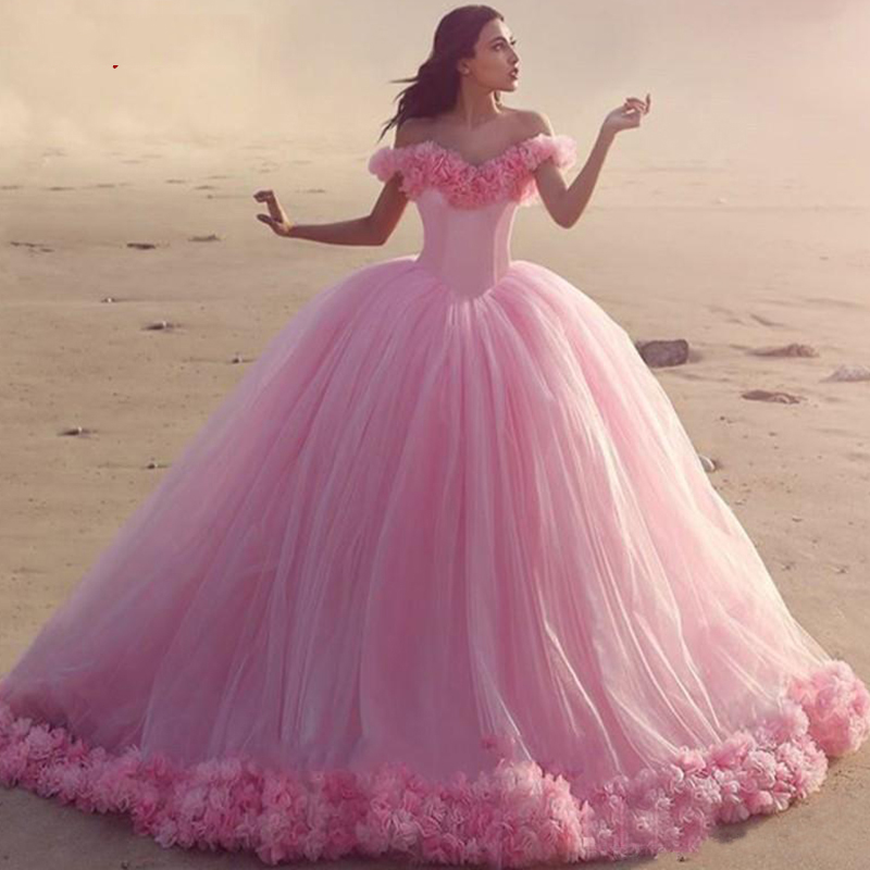 Quinceanera Dresses Ball Gown Off Shoulder Pink Tulle Prom Debutante Sixteen Sweet 16 Dress vestidos de 15 anos