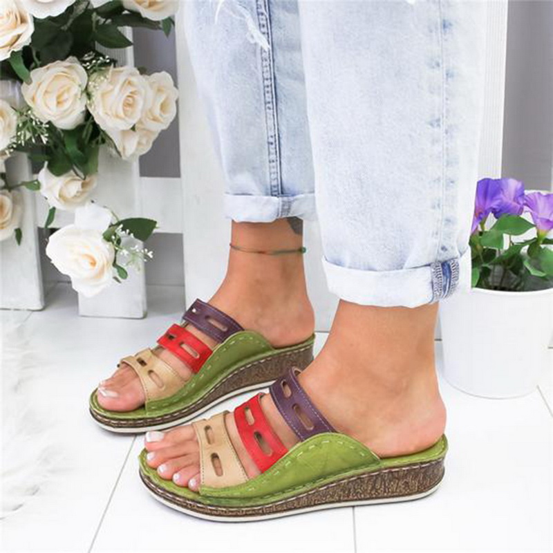 Women's Beach Slippers 2020 Summer Women Lady Retro Stitching ColorCasual Low  Peep Toe Sandals 3 Colors Shoes Slides