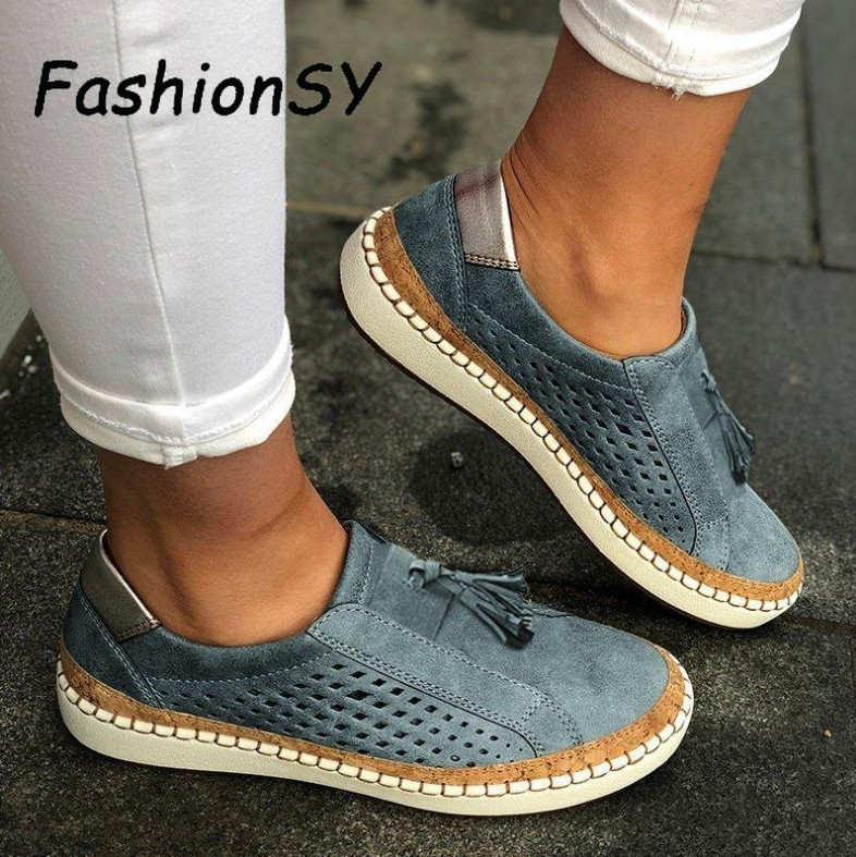 Hollow Out Women Shoes Female Loafers Striped Breathable Casual Shoes 2020 Flat Suitable Wide Leg Shoes Women's Sneaker