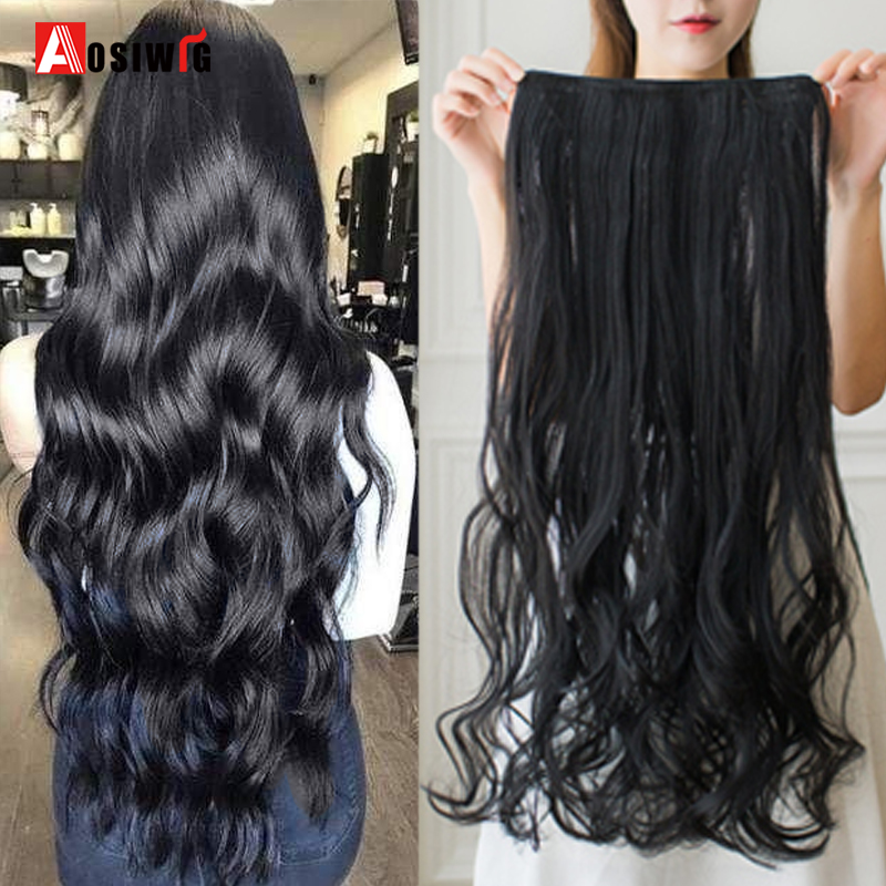 AOSI 40cm 50cm 60cm 80cm 100cm Long Wavy Hairstyles Synthetic 5 Clip In Hair Extension Heat Resistant Hairpieces Brown Black