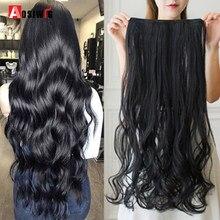 AOSI длинные волнистые прически 40 см, 50 см, 60 см, 80 см, 100 см, синтетические накладные волосы с 5 зажимами, термостойкие шиньоны, коричневые, черны...