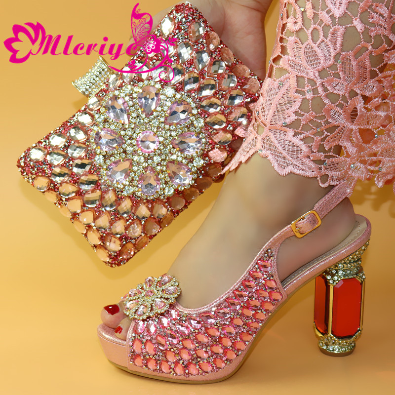 Italian Shoe With Matching Bag For Party With Stones Wedding Shoes And Bag Set High Quality Women Pumps Pink Color PU Leather