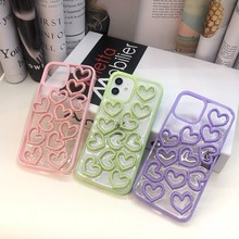 Fashion Clear Colorful Three-dimensional Heart Hard Case For Iphone 11 12 Pro Max 7 8 Plus Xr X Xs Se 2020 Phone Cover Fundas