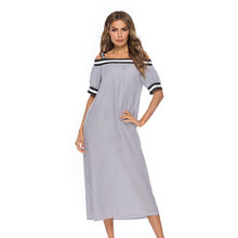 Женское платье в полоску Повседневное с воротником «одно слово»