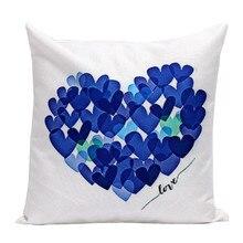 цена на 45x45cm Colorful Printed White Linen Fabric Throw Pillowcase Decorative Home Sofa Cushion Cover