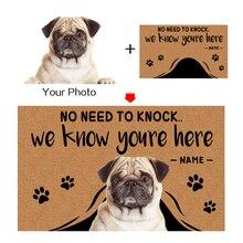 Felpudo personalizado con texto, nombre de mascota, perro, foto de gato, decoración del hogar, entrada sin salida de escape