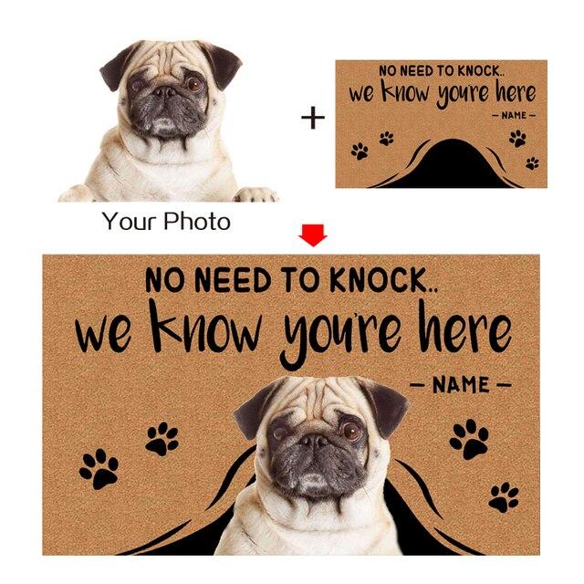 Özel paspas kişiselleştirilmiş metin adı Pet köpek kedi fotoğraf ev dekorasyon giriş kaymaz paspas