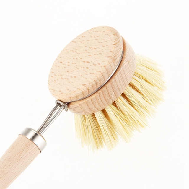 Skillet cleaning brush, replaceable head Sale! Heavy kitchen dishwashing brush retro wood pot brush Houseware cleaning brush 6